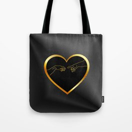 Creation of Adam inside a golden heart and metallic texture Tote Bag