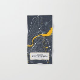 Chattanooga, Tennessee City Map with GPS Coordinates Hand & Bath Towel