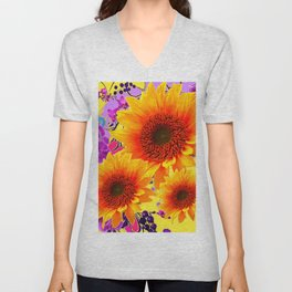 Colorful Sunflowers Purple Floral Art Unisex V-Neck
