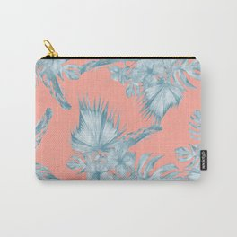 Dreaming of Hawaii Pale Teal Blue on Coral Pink Carry-All Pouch