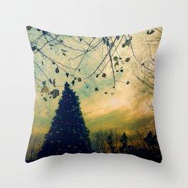 Christmas Tree at Dusk Throw Pillow