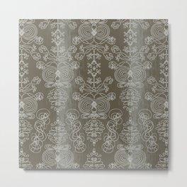 Elena, battleship grey ornate Metal Print