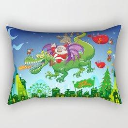 Santa changed his reindeer for a dragon Rectangular Pillow