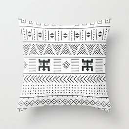 Black and white tribal ethnic pattern with geometric elements, traditional African mud cloth, tribal Throw Pillow
