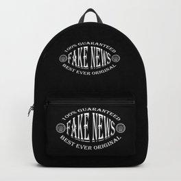 Fake News badge (white on black) Backpack