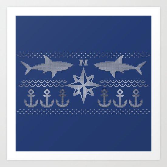 Nerdic (marine pattern) Art Print