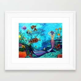A Fish of a Different Color - Mermaid and seaturtle Framed Art Print