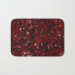 Red Scattered Sequins Bath Mat
