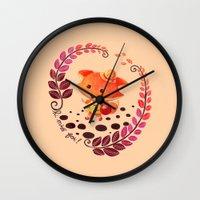 alisa burke Wall Clocks featuring Hello Miss Fox!! by haidishabrina