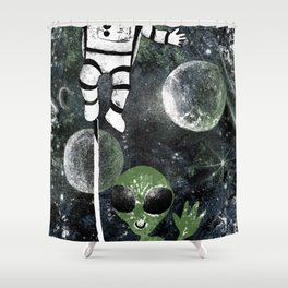 space balloon Shower Curtain