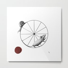 dilemma; the snail has the upper hand Metal Print