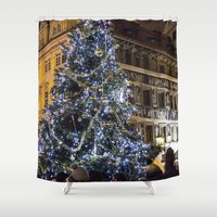 new year Shower Curtains featuring New year 4 by Veronika
