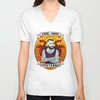 marx V-neck T-shirts featuring Karl Marx Hipster by Ferguccio