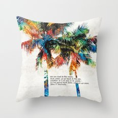 Colorful Palm Trees - Returning Home - By Sharon Cummings Throw Pillow