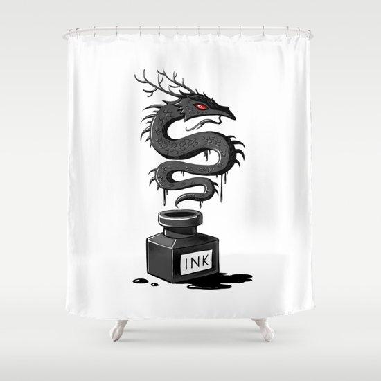 Ink Dragon Shower Curtain
