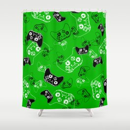 Video Game Green Shower Curtain