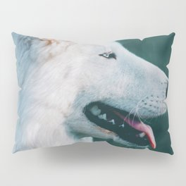 White Wolf Tongue Out (Color) Pillow Sham
