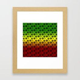 Rasta Cannabis Weed Leaf Pattern Framed Art Print