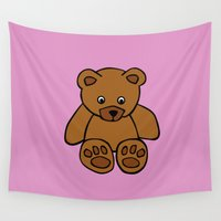 teddy bear Wall Tapestries featuring Teddy Bear by ArtSchool