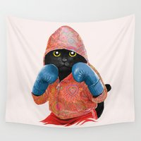 jazzberry Wall Tapestries featuring Boxing Cat 2  by Tummeow