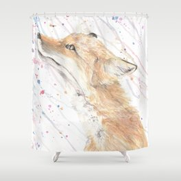 """Watercolor Painting of Picture """"Fox in the Rain"""" Shower Curtain"""