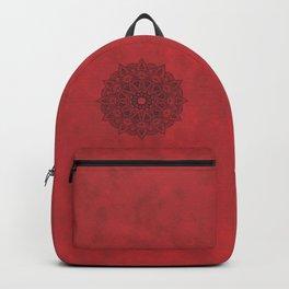 Black Mandala on Red Stains Background Backpack