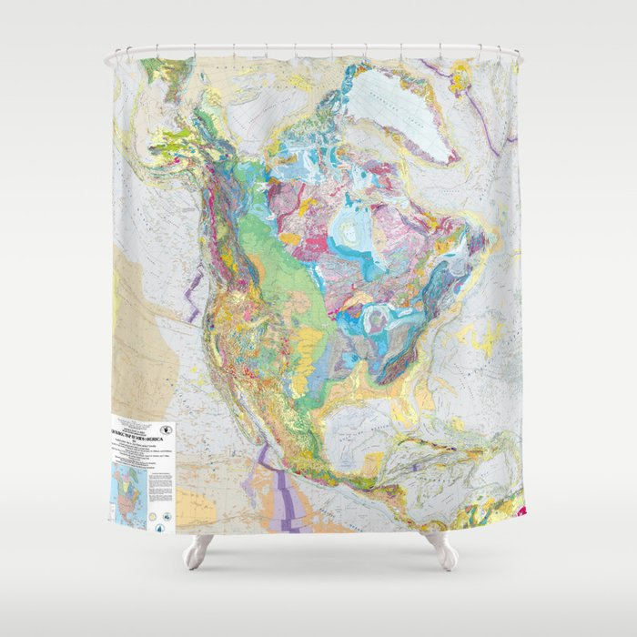 Usgs Geological Map Of North America Shower Curtain By