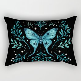 Mystical Luna Moth - Turquoise Rectangular Pillow