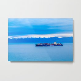 Freighter on Blue Metal Print