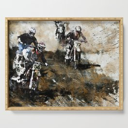 """""""Dare to Race"""" Motocross Dirt-Bike Racers Serving Tray"""