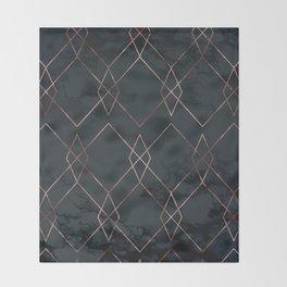 Modern Deco Rose Gold and Marble Geometric Dark Throw Blanket