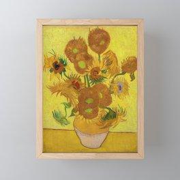 Vincent Van Gogh - Vase with Fifteen Sunflowers Framed Mini Art Print