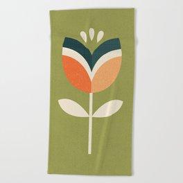 RETRO TULIP - ORANGE AND OLIVE GREEN Beach Towel