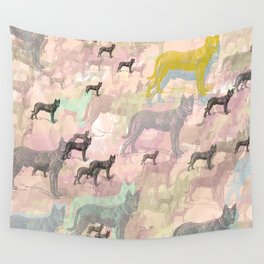 Sky Dogs - Abstract Geometric pink mauve mint grey orange Wall Tapestry