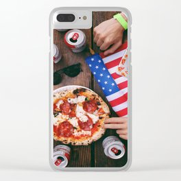 Pizza for America Clear iPhone Case