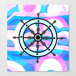 Ship's wheel on abstract marine background Canvas Print