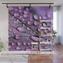 Water Drops On Leaf Wall Mural