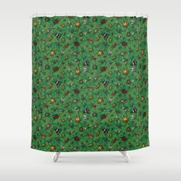 Bugs & Insects on Green Floral Background Shower Curtain