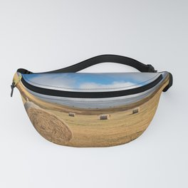 A Day on the Prairie - Round Hay Bales on Golden Landscape in South Dakota Fanny Pack