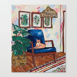 Ginger Cat on Blue Mid Century Chair Painting Canvas Print