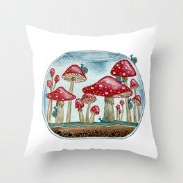 Mushroom Snail Terrarium Throw Pillow