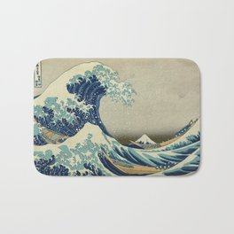 The Classic Japanese Great Wave off Kanagawa by Hokusai Bath Mat