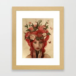 red haired green eyed Crimson Fairy with flowers butterflies and birds portrait Framed Art Print