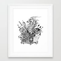 thrones Framed Art Prints featuring Game of Thrones by Ink Tales