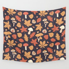 Autumn Pattern on Dark Blue Wall Tapestry