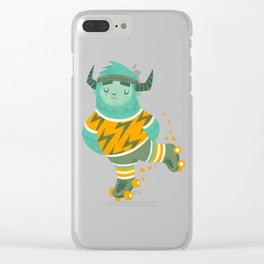 Roller Skating Yeti Clear iPhone Case
