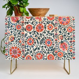 Shakhrisyabz Suzani  Uzbekistan Antique Floral Embroidery Print Credenza