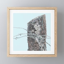 Fencepost Series - Barbed Wire and Lichens Framed Mini Art Print