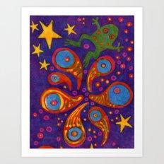 Space Frog batik Art Print