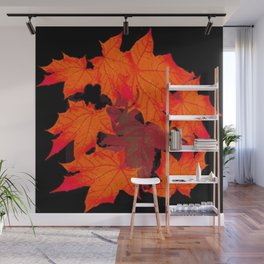 DECORATIVE RED-ORANGE AUTUMN LEAVES ON BLACK Wall Mural